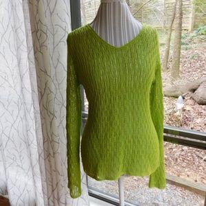 Liz Claiborne lime open knit sweater, large